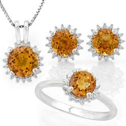 Sterling Silver Citrine Jewelry Set