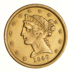 1840-O $5 Liberty Head Gold Half Eagle - Near Uncirculated