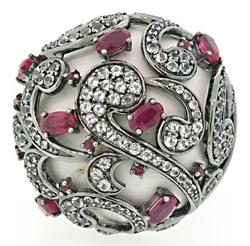 Carlo Viani Ruby & White Gemstone Ring