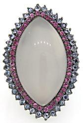 Carlo Viani Rose Quartz, Tanzanite & Sapphire Ring