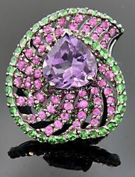 Carlo Viani Heart Shaped Amethyst Ring
