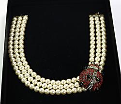 Heidi Daus  Faux Pearl Necklace with Ladybug