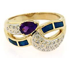 Abstract Amethyst, Opal & Diamond Ring