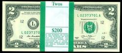 Gem CU Pack of 100 Series 2013 $2 Bills in Sequence (L)