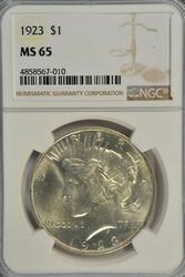 Great Gem BU 1923 Peace Silver Dollar. NGC MS65