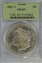 Prooflike Choice BU 1885-O Morgan Dollar. PCGS MS63PL