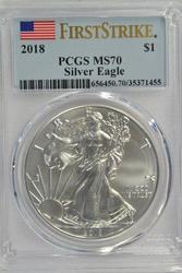 Flawless BU 2018 First Strike $1 Silver Eagle PCGS MS70