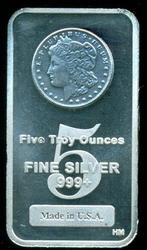 Superb Silver Dollar design 5 Troy oz. pure silver bar