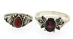 Lot of 2 Gemstone Sterling Silver Rings