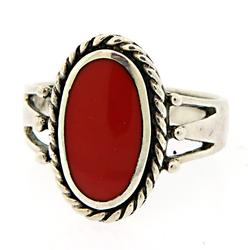 Coral Sterling Silver Ring