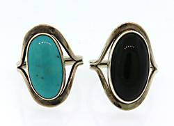 Lot of 2 Turquoise and Black Onyx Rings