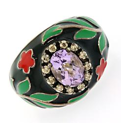 Le Vian Sterling Silver Ring with Purple Gemstone