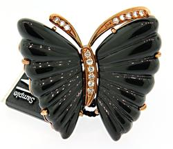 Carlo Viani Sterling Silver Black Butterfly Ring