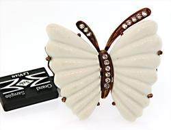 Carlo Viani Sterling Silver White Butterfly Ring
