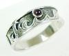 Men's Sterling Wave Ring with Amethyst, Size 13