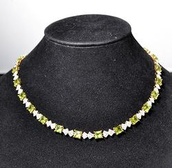 Peridot & White Topaz Sterling Silver Necklace
