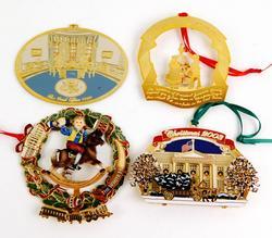 4 Vintage White House Christmas Ornaments