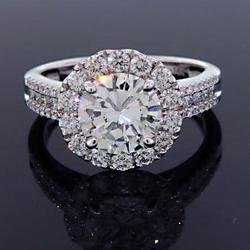 Stunning 14kt Gold 3+ Carat Diamond Halo Ring