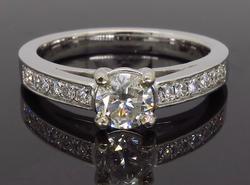 14K White Gold .63CTW Diamond Engagement Ring