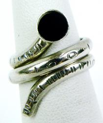 Sterling Silver Snake Ring with Onyx