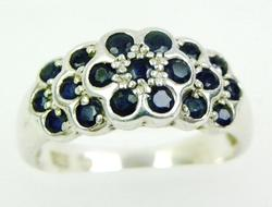 Sterling Silver Ring with Blue Sapphires