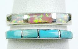 2 Sterling Bands - Turquoise & Opal