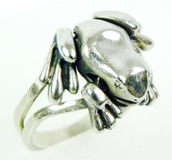Sterling Reticulated Frog Ring