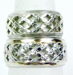 2 Sterling Wide Bands - Trellis Motif