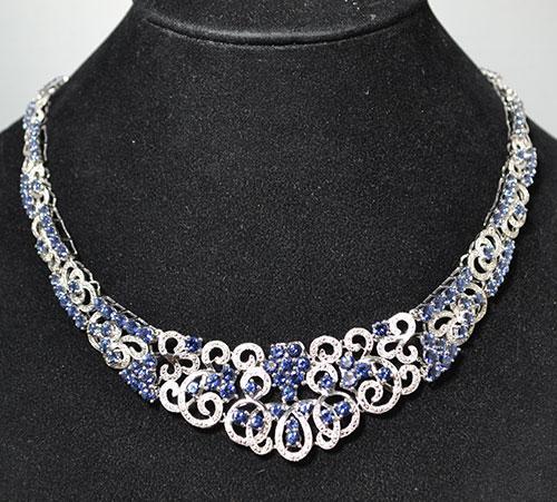 Sterling Silver Tanzanite & Diamond Necklace