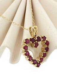 Charming Open Heart Pendant Necklace with Rubies