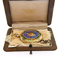 Stunning Vintage Enamel Pocket Watch in 18K