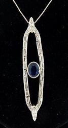Vintage Sapphire & Diamond Pendant Necklace
