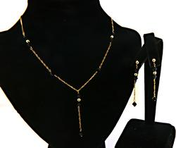 Trendy Y Necklace with Black Onyx Stations