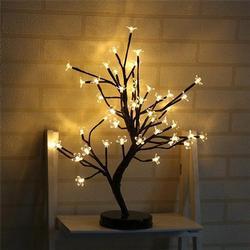 48 LED Light Plum Potted Trees Blossom Desk Waterproof