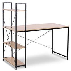 Portable Corner Desk Small Space Wood 4 Shelves Storage