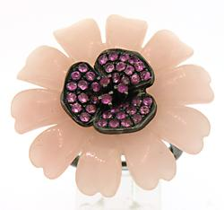 Carlo Viani Flower Ring with Pink Sapphire