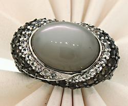 Carlo Viani Grey Gemstone Ring