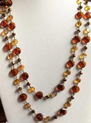 Dazzling, Extra Long 'Joan Rivers' Faceted Amber Beaded, Necklace