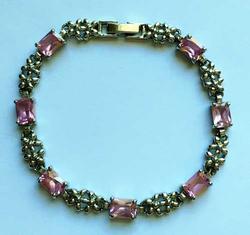 Pretty, Emerald Cut 'Pink' Swarovski Crystal, Linked Bracelet
