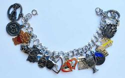 Whimsical, Dangling (19) Figural Charms, Chain Linked Bracelet