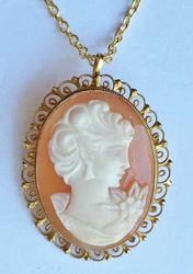 Vintage, Natural 'Shell Carved Cameo' & Gold Filled Pendant / Pin