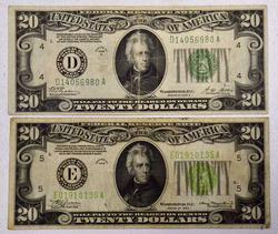 1928B, 1934 Federal Reserve $20 Notes