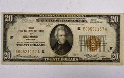 1929 FRB of Richmond $20 Note, Tough
