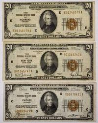 Trio of 1929 $20 FRBN's, CHI, NY, RICH