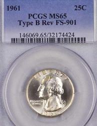 Type B Reverse 1961 MS65 Washington Quarter, Rare