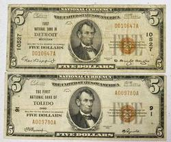 2 Series of 1929 $5 Detroit and Toledo Nationals