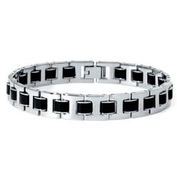 Mens Stainless Steel & Rubber Link Bracelet