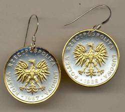 Gorgeous 2-Toned Gold on Silver Polish  Eagle   Coin Earrings