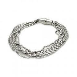 Sterling Silver 925 Italian Bead Chain Bracelet 7in