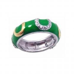 925 Sterling Silver Ladies Jewelry Green Enamel Horse Shoe Band